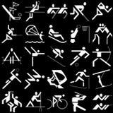 White sports icons set Royalty Free Stock Images