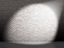 White spot on wall. Landscape computer-generated image of white spotlight on a bare brick wall stock illustration