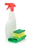 White spray bottle and accesories for cleaning Royalty Free Stock Photography