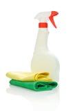 White Spray Bottle And Two Kitchen Napkin Royalty Free Stock Photos