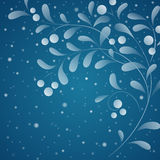 White sprig with berries  on dark snowy. Sky. Vector illustration Royalty Free Stock Photography