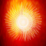 White Spril Burst on Red Flame Stock Photo