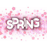 White spring sign over pink flowers background Stock Photo