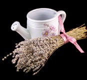 White sprinkler, watering can and a bouquet of Lavandula flowers Royalty Free Stock Photography