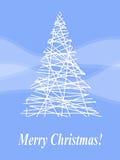 White spruce. Stylized Christmas tree on a blue background Stock Photos