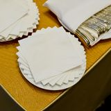 White Square Bar Napkin at Buffet line Royalty Free Stock Photography