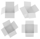 White square box templates set, isolated on white background. Paper container for product and pack cardboard. 3d Stock Photo