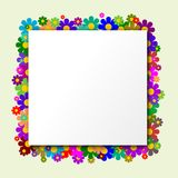 White Square  with flowers in the background. White Square with flowers in the background and green backgraund Stock Photography