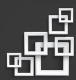 White square frames. Illustration of white 3d square frames overlapping with realistic long shadow on dark gray background Stock Photos