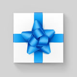 White Square Gift Box with Light Blue Ribbon Bow. Vector White Square Gift Box with Shiny Light Blue Turquoise Azure Ribbon Bow Close up Top view  on Background Stock Images