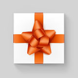 White Square Gift Box with Orange Ribbon Bow Stock Images