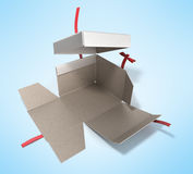 White Square Gift Box with Red Ribbon and Bow 3d render Stock Photography