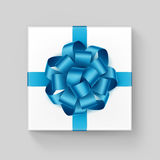 White Square Gift Box with Shiny Light Blue Azure Ribbon Stock Photo