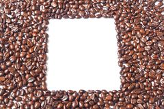 The white square in many brown coffee beans Royalty Free Stock Photos