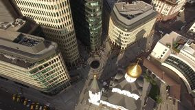 White square Moscow city Unique mix modern and old Russian architecture. Glass steel office buildings Orthodox church People walk. People walk at the street stock footage