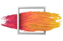 White square shaped frame with abstract paint brush stroke. Colorful purple to yellow 3D paint stroke isolated on white background. 3D rendering. Colorful Stock Photos