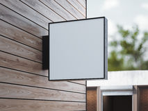 White square signboard on the wall. 3d rendering Stock Photography