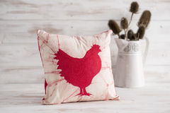 Free White Square Throw Pillow With Red Chicken Imprint Stock Photography - 65372482