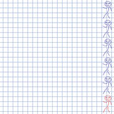 White squared paper background with doodle man. School hand-drawn doodles Royalty Free Stock Image
