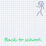 White squared paper background with doodle man. School hand-drawn doodles Royalty Free Stock Photos