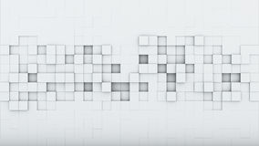 White squares abstract 3D render. White squares. Abstract 3D rendering background Stock Illustration