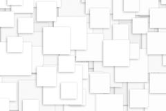 White squares background. Chaotic white squares background. Graphic design Stock Images