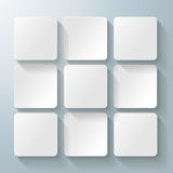 9 White Squares Desig. Infographic design with white rectangle squares on the grey background. Eps 10 vector file Stock Photography