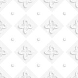 White squares and flowers pattern Stock Images