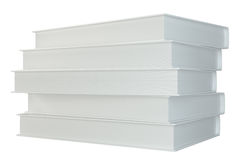 White stack of books isolated on white background. 3d rendering Royalty Free Stock Photo