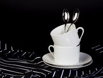 White Stacked Coffee Cups Stock Photos