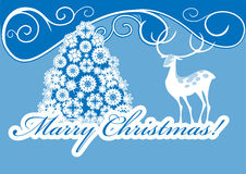 White Stag And Christmas Tree Royalty Free Stock Photos