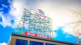 White Stag sign in Old Town Portland Oregon Stock Photo