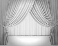 White stage curtain, background Royalty Free Stock Photo