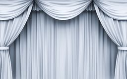 White Stage Curtain texture and background. With shadow . 3D rendering Royalty Free Stock Photo