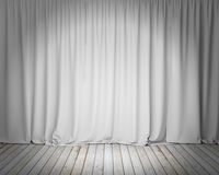 White stage curtain with wooden floor, background. Template design Stock Photo