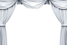 White Stage Curtains isolated over white background. White Stage Curtains illustration isolated over white background . 3D rendering Stock Image