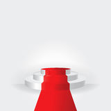 White stage podium with red carpet on white background illustrat Royalty Free Stock Images