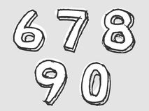 67890 white stained set of numbers Royalty Free Stock Photo