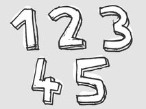 12345 white stained set of numbers Royalty Free Stock Photos