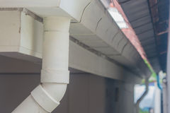 White stainless rain gutter. Royalty Free Stock Images