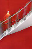 White stair. With red wall and one light Royalty Free Stock Photos