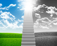 White stair with colored and gray nature landscape Stock Photography