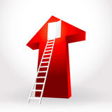 White stair ladder up open the door success business on big red Stock Photography