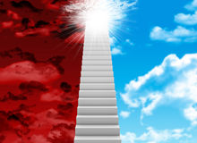 White stair with red and blue sky Stock Photography