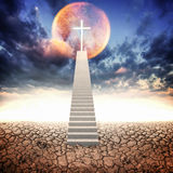 White stair up to christian cross and  circle of light Stock Photos