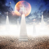 White stair up to christian cross land Royalty Free Stock Images