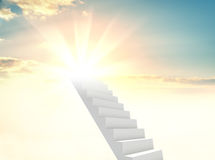 The white staircase is going up in the sun. The concept of success, achievement of a goal or religion. 3d illustration Stock Images