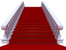 White staircase with red carpet. Elegance white staircase with red carpet stock photography