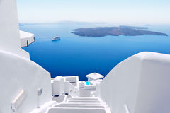 White staircases on Santorini Island, Greece Stock Image