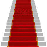 White stairs covered with red carpet Stock Photography